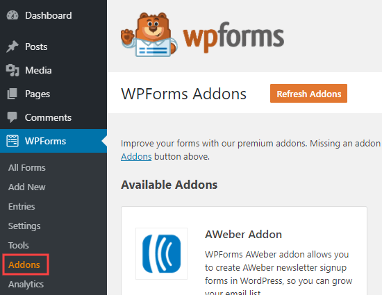 The WPForms addons page in your WordPress admin