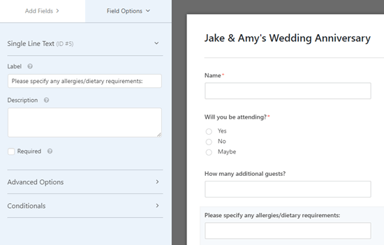 Adding a simple text field to ask about allergies and dietary requirements
