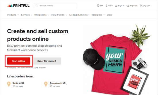 Click the 'Start Selling' button to begin selling with Printful