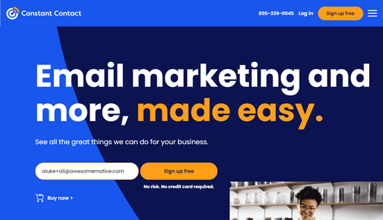 The Constant Contact website