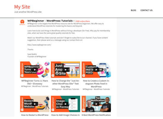 YouTube Feed on your page