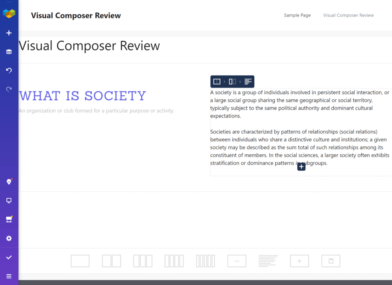The Visual Composer interface
