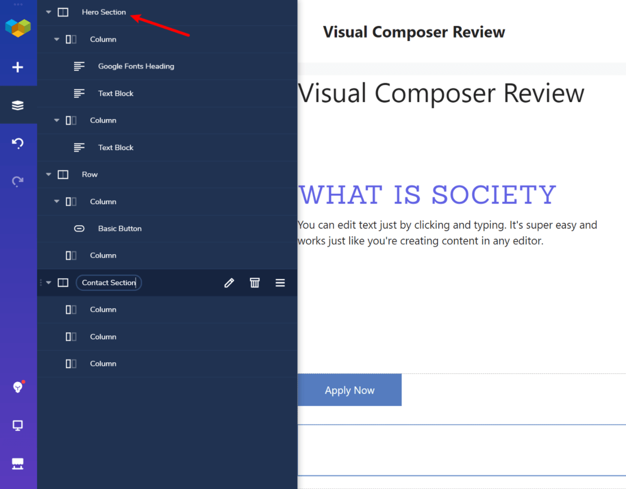 Visual Composer tree view